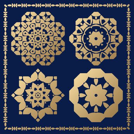 centric: Set of orthogonal gold decorative elements. Arabesque for design.