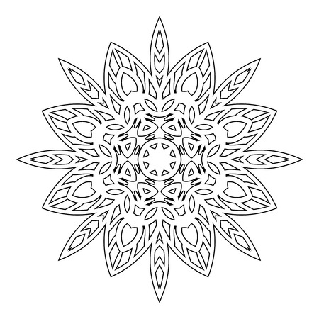 sumerian: Mandala. Black and white decorative element. Picture for coloring.