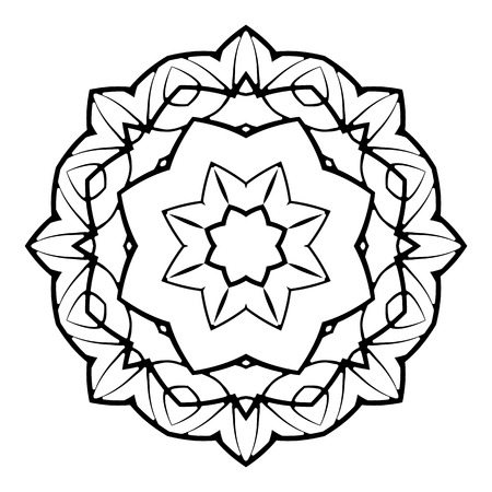 Mandala. Herbal decorative elements. Picture for coloring. Illustration