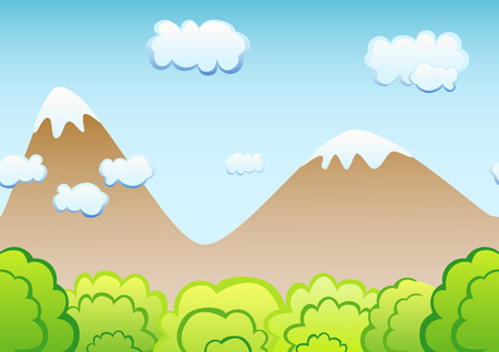 erupt: Seamless game background. The backdrop for the game. Mountains and shrubs.