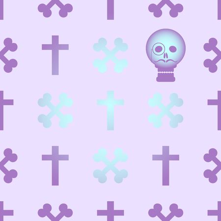 goth: Seamless background with crossed bones and skull in the style of pastel goth in pink and purple tones.