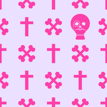goth: Seamless background with crossed bones and skull in the style of pastel goth in pink tones.