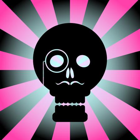 Black gentleman skull on a radial background in pink. Illustration