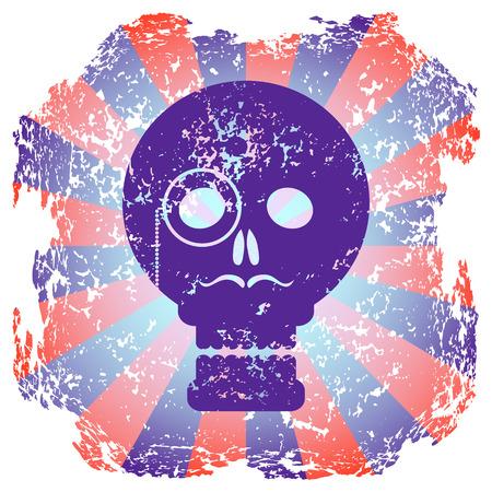variance: Purple skull gentleman on radial background. Worn grunge background. Sticker skull.