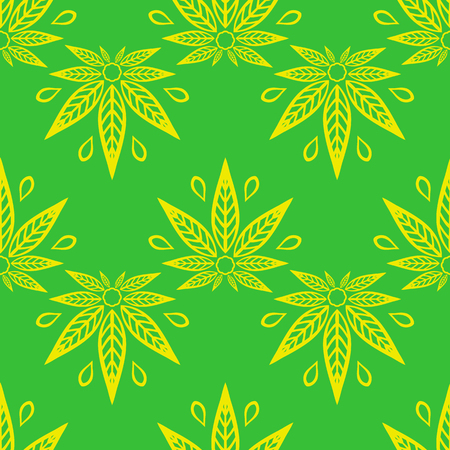 Seamless pattern with of yellow cannabis leaves on a green background. Illustration