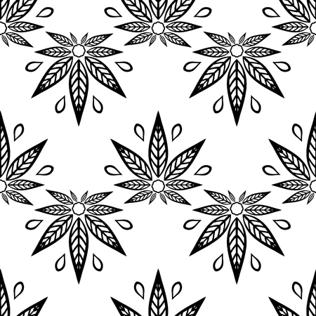 rastaman: Seamless pattern black and white with of cannabis leaves.