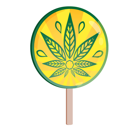 Round lollipop with the image of cannabis. Sweets for adults. Illustration for design t-shirts and other items.