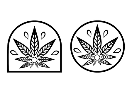 promotional products: Cannabis logo. Hemp Line icons. Stylized leaf cannabis. Sign T-shirts for design, creating corporate identity and promotional products.
