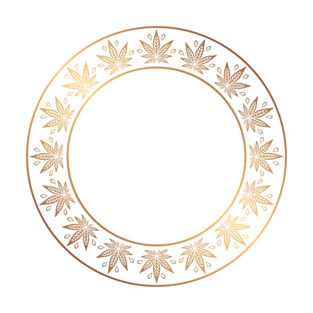 promotional products: Round gold frame of cannabis. Border of stylized hemp leaf to create promotional products, logos, decoration items.