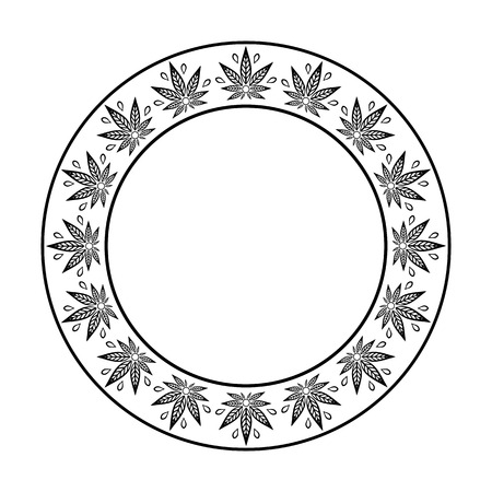 promotional products: Round frame of cannabis. Border of stylized hemp leaf to create promotional products, logos, decoration items.