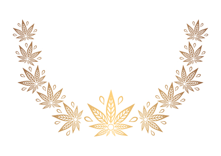 promotional products: Decorative semicircular element of cannabis. Border of stylized hemp leaf to create promotional products, logos, decoration items. Illustration
