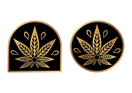 promotional products: Cannabis gold logo. Hemp Line icons. Stylized leaf cannabis on a black background. Sign T-shirts for design, creating corporate identity and promotional products.