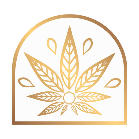 promotional products: Cannabis gold logo. Hemp Line icons. Stylized leaf cannabis on a white background. Sign T-shirts for design, creating corporate identity and promotional products.