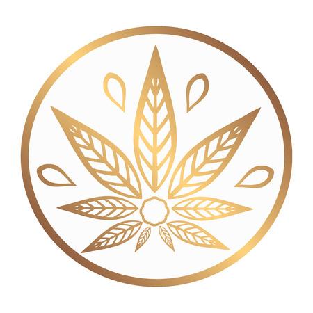 Cannabis gouden logo. Hemp Line pictogrammen. Gestileerde blad cannabis op een witte achtergrond. Teken T-shirts voor design, het creëren van corporate identity en promotionele producten. Logo