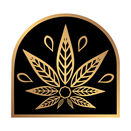 gold leaf: Cannabis gold logo. Hemp Line icons. Stylized leaf cannabis on a black background. Sign T-shirts for design, creating corporate identity and promotional products.