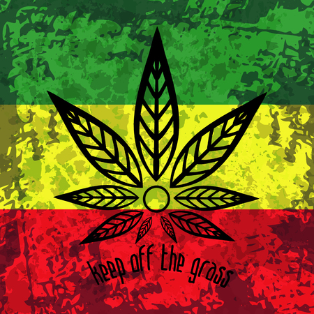 Green, yellow, red rasta flag. Rastafarianism grunge background with stylized cannabis. Colorful backdrop for decoration work in reggae, rastaman festivals, posters, promotional items. Illustration