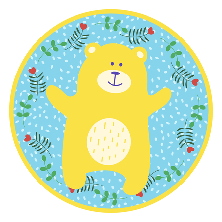 ready logos: Teddy bear. Yellow toy bear on a round blue background for design of childrens goods and things. Sticker for a photo shoot with cute little animals. Illustration