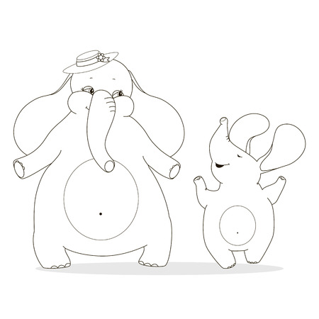 Mother elephant and baby elephant enjoyed. Family outline drawing for coloring. Cartoon wild animals for the design of childrens goods and things.