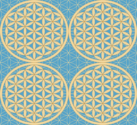 inscribed: Seamless pattern with a symbol of the Flower of Life. Bold Gold on turquoise background. Sacred Geometry. Flower with six petals. The ancient symbol of the Seed of Life.