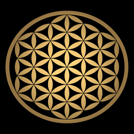 Sacred Geometry. Ancient gold Flower of Life symbol on a black background. Flower with six petals. The ancient symbol of the Seed of Life.