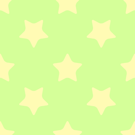 estrellas cinco puntas: Simple seamless background of bright yellow five-pointed stars on a light green background. Drawing for the design surface.