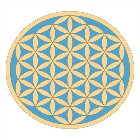 Heilige Geometrie. Altes Gold Blume des Lebens Symbol auf einem türkisfarbenen Hintergrund. Blume mit sechs Blütenblätter. Das alte Symbol der Samen des Lebens. Vektorgrafik
