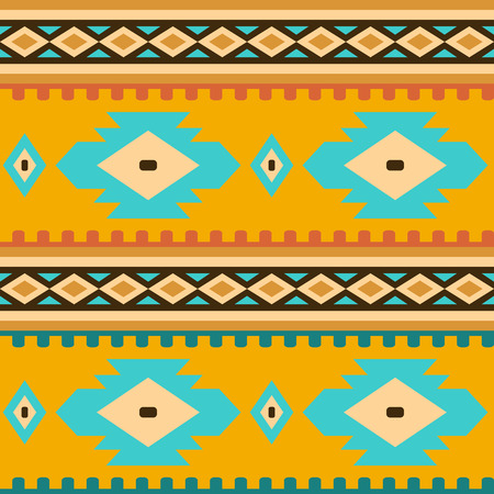 Seamless geometric ethnic pattern. Elements of traditional Native American ornament. Image in warm colors for design and textile items in the style of boho and folk. Illustration