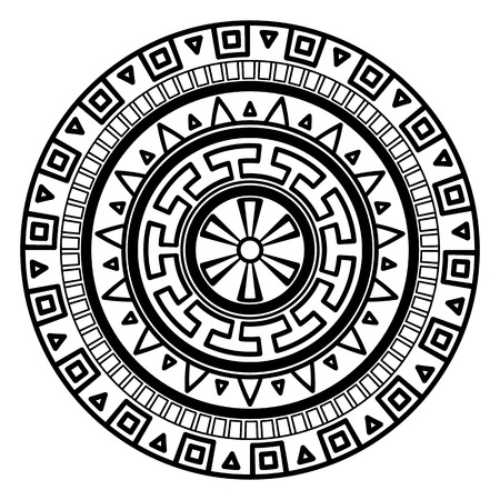 Round geometric pattern of meanders. Composite decorative element of the circles with ornaments. Stencil Tattoo and prints. Illustration