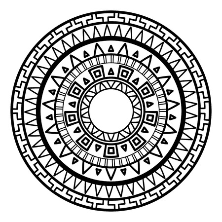 Round pattern in the Greek style. Rosette of geometric elements. Stencil Tattoo and prints.