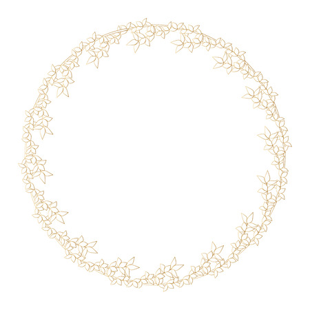 Round golden frame made of branches with young leaves. Outline of branches with leaves. Illustration
