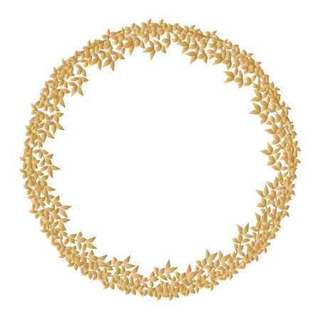 Round golden frame made of branches with leaves.
