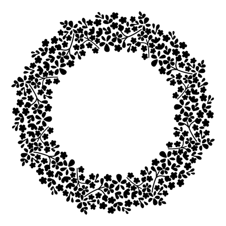 Round frame of flowers. Small flowers on a circle. Illustration