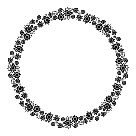 Round frame with flowers. Decorative element for design of books, printed materials, invitation for a wedding or a celebration, for albums. Illustration