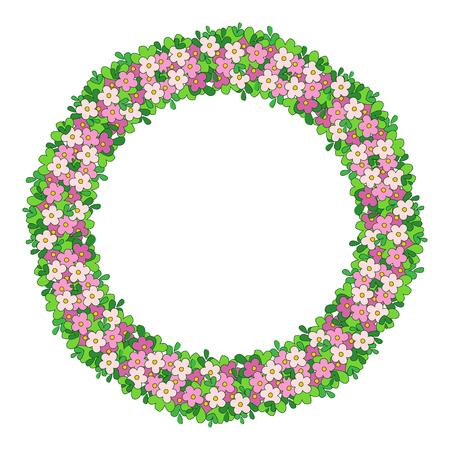 Rond cadre coloré de fleurs. La frontière des fleurs délicates, une couronne avec des feuilles vertes et des fleurs roses. Banque d'images - 69937416