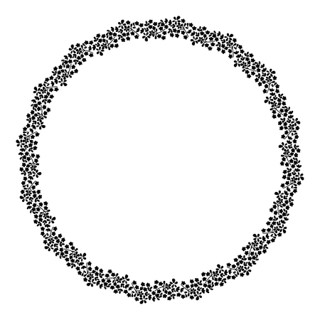 Noir rond et cadre blanc de fleurs. Banque d'images - 69937418