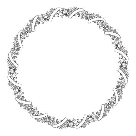 Round black and white frame of flowers with ribbon. Illustration