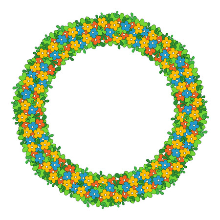 Round colorful frame of flowers. The border of delicate flowers, a wreath with green leaves and multicolored flowers.