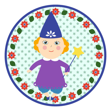 cousin: Tooth fairy round sticker. Little girl in a witches costume. Cartoon children character.