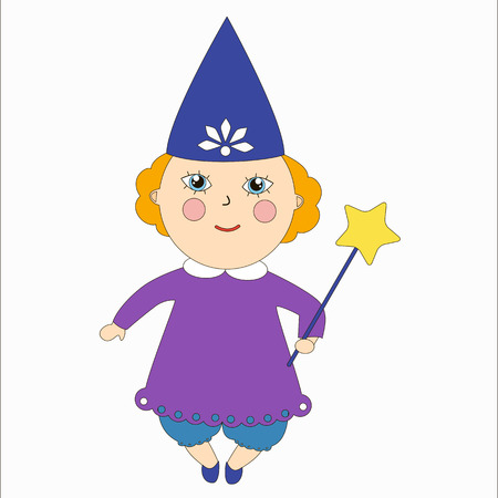 Tooth fairy. Little girl in a witches costume. Cartoon children character. Illustration
