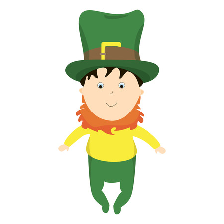 Infant in costume St. Patrick. Little boy with a red beard and invoice in a big green hat.