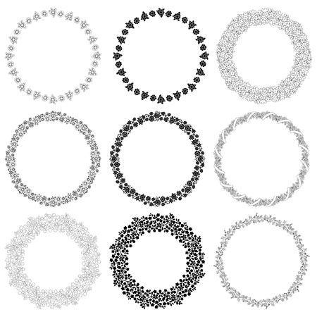 provincial: Set of round frames with flowers. Decorative elements for design. Illustration