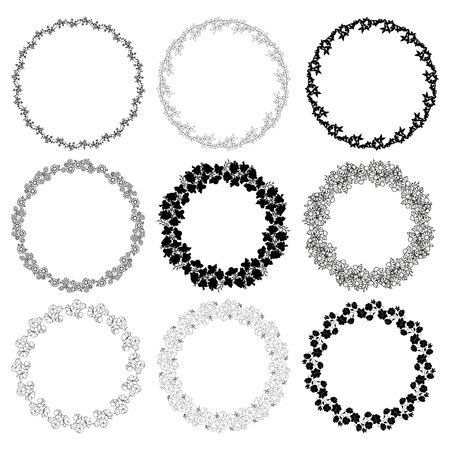 Set of round frames with flowers. Decorative elements for design. Illustration