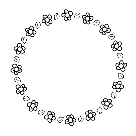 Round frame with stylized flowers. Decorative border for creating eco-style wedding invitations.
