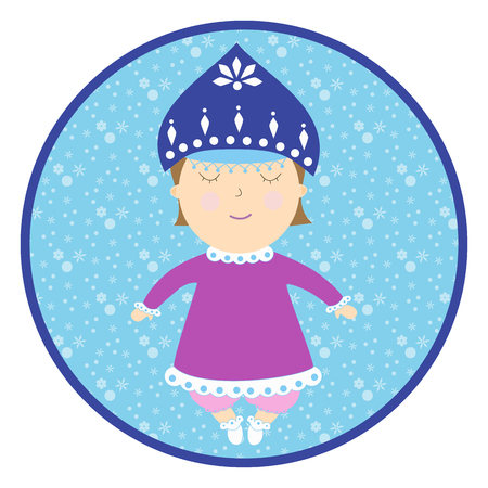 snow queen: Infant girl in a fairy costume. Baby sleeping round sticker. Cartoon children character.