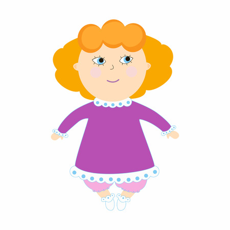 Infant girl smile. Illustration with the kid on a white background. Cartoon children character. Illustration