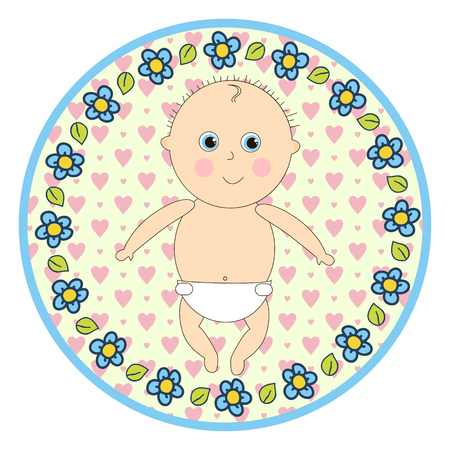 infant: Infant in diapers round sticker in a cartoon style.