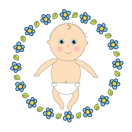 wean: Newborn in diapers. Little baby in a round frame of flowers.
