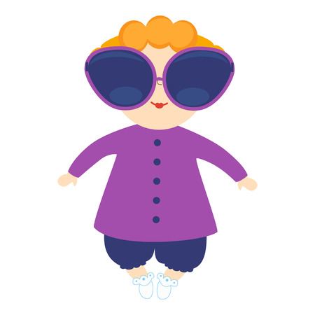 Infant girl in big sunglasses. Illustration with the kid on a white background. Cartoon children character.