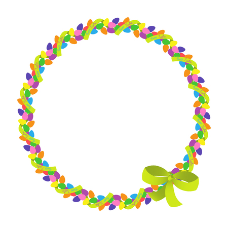 Easter eggs colored round photo frame with ribbon.