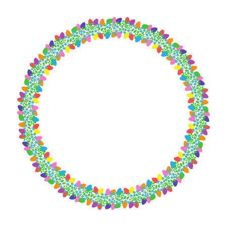 Flowers and Easter eggs. Round colorful frame. Small blue flowers on a circle. Illustration